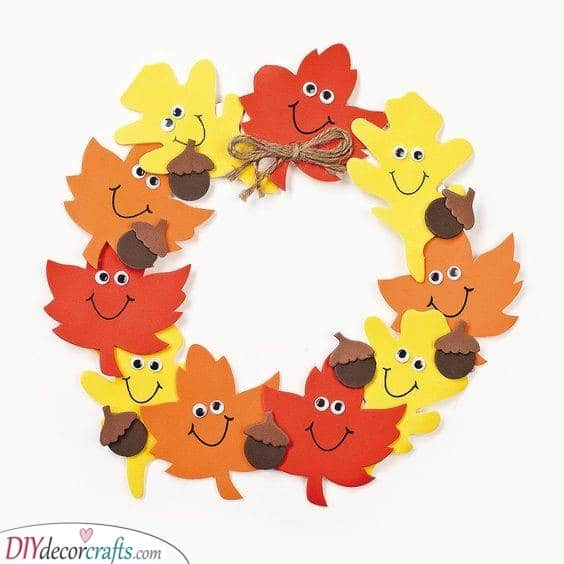Another Leafy Wreath - Thanksgiving Crafts for Kids