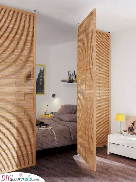 Thin Wooden Panels - Room Separator Ideas