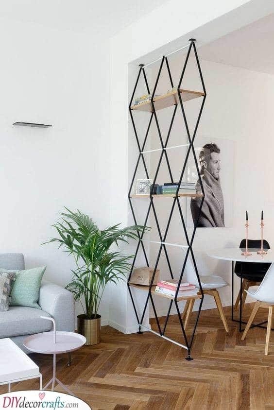 A Geometric Shelf - Studio Apartment Dividers