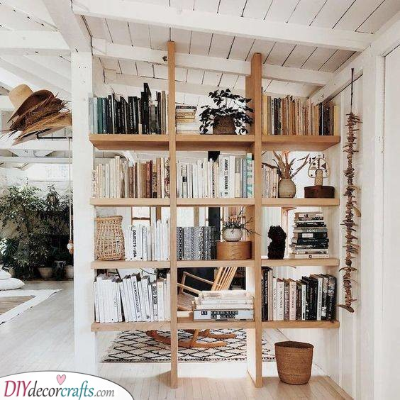 A Bulky Bookshelf - Filled With Books