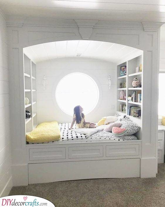 A Bed With a Shelf - Girls Bedroom Decor Ideas