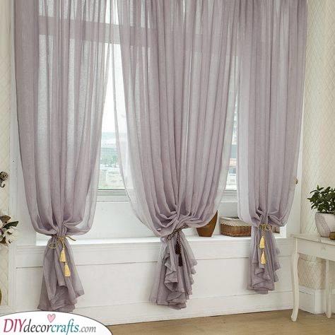 Silver Elegance - Bedroom Window Curtains