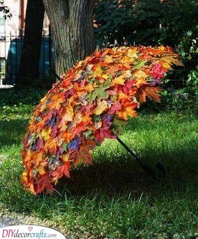 A Leafy Umbrella - Outdoor Fall Decor Ideas