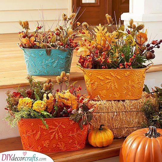 Embossed Metal Planters - Fall Front Porch Ideas
