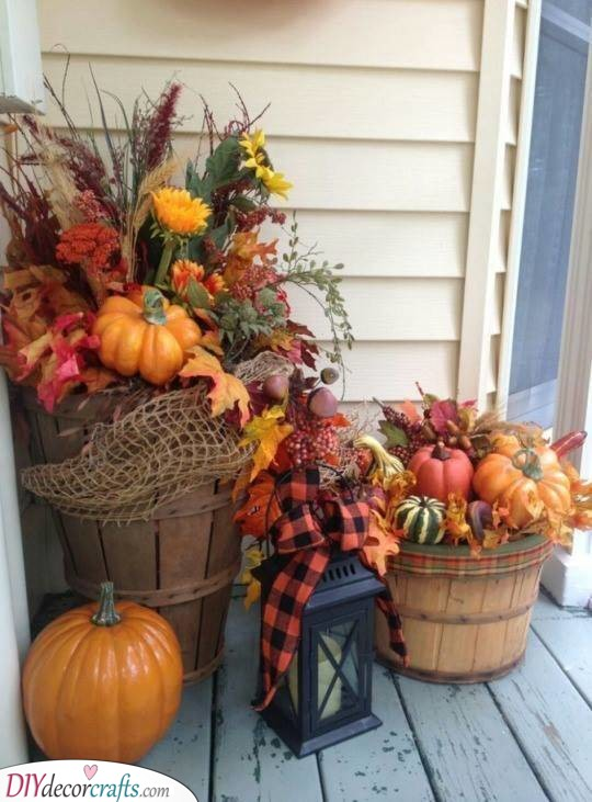 Small Barrels of Fall - Rustic Fall Decorations for Outside