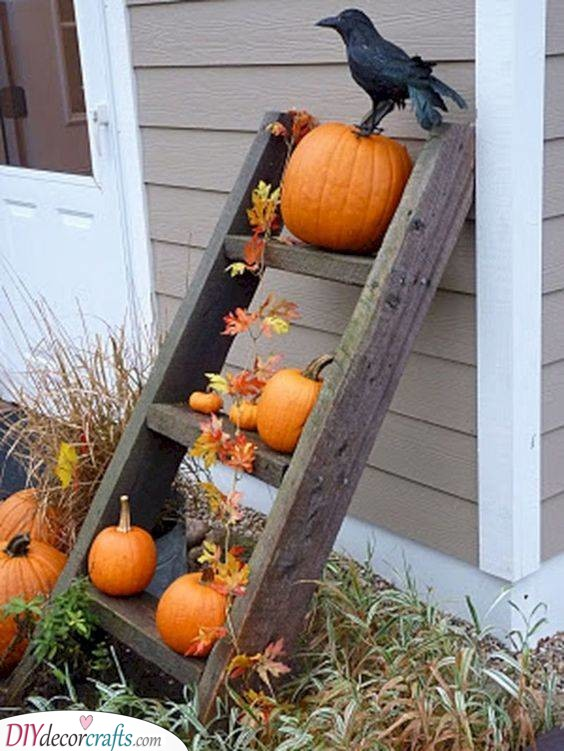 A Small Ladder - Fall Decorating Ideas for Outside