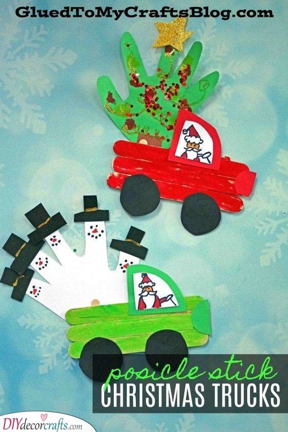 Santa's Truck - Popsicle Stick Crafts