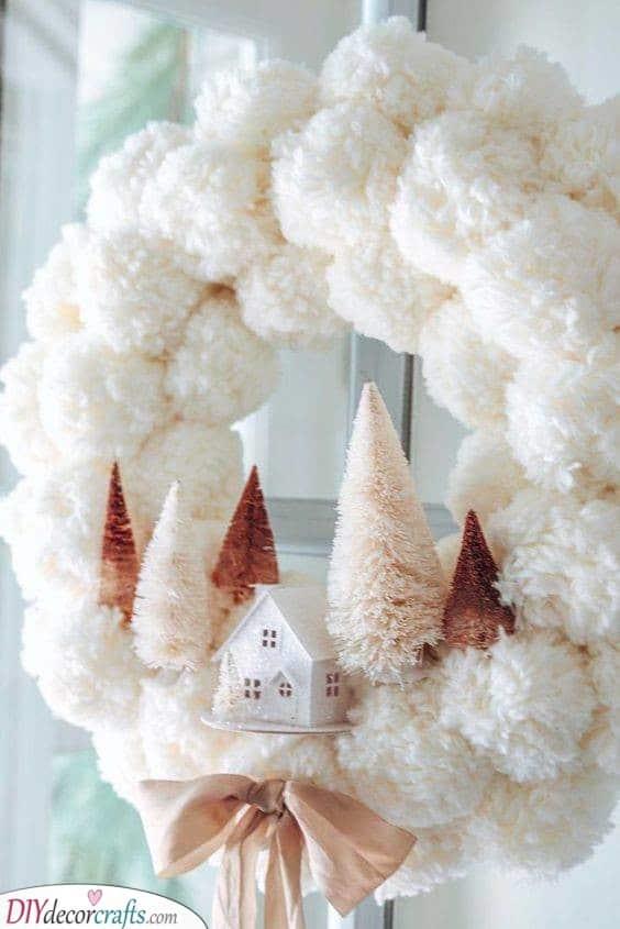 A Fluffy Wintery Landscape - Using Pompoms