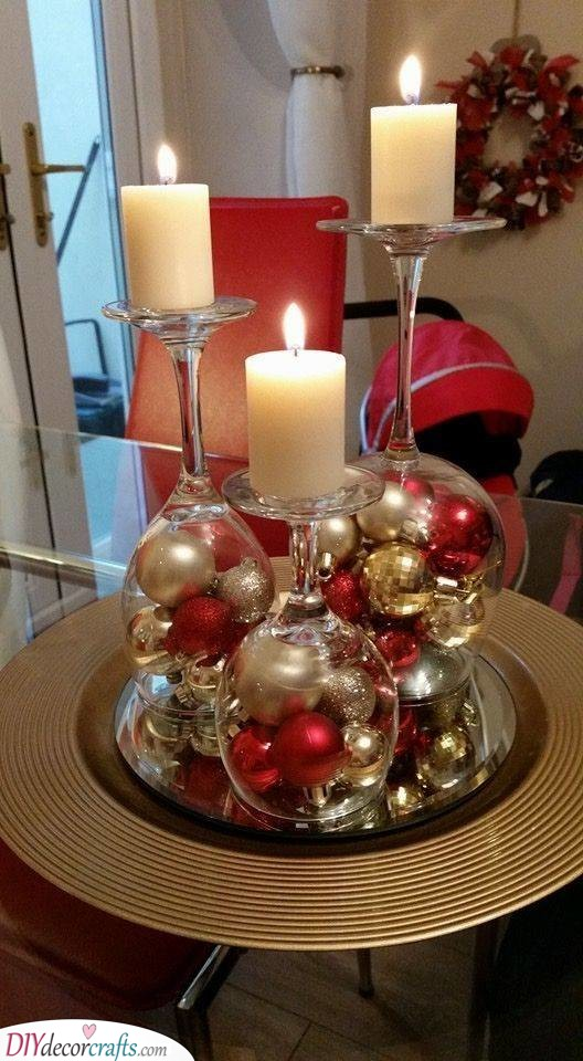 Reusing Wine Glasses - Candles and Ornaments
