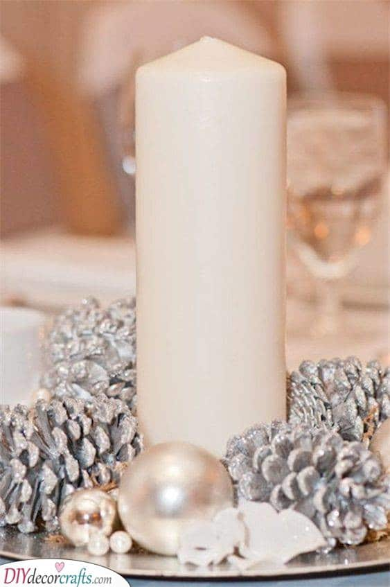 Silver and White - Homemade Christmas Table Decorations