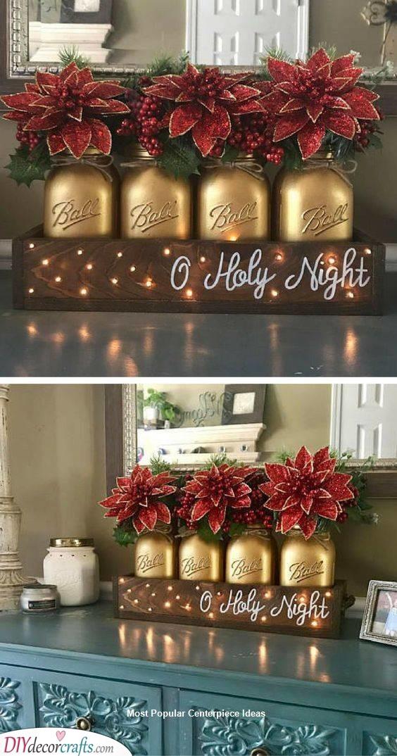 Gold Mason Jars - Winter Vibes