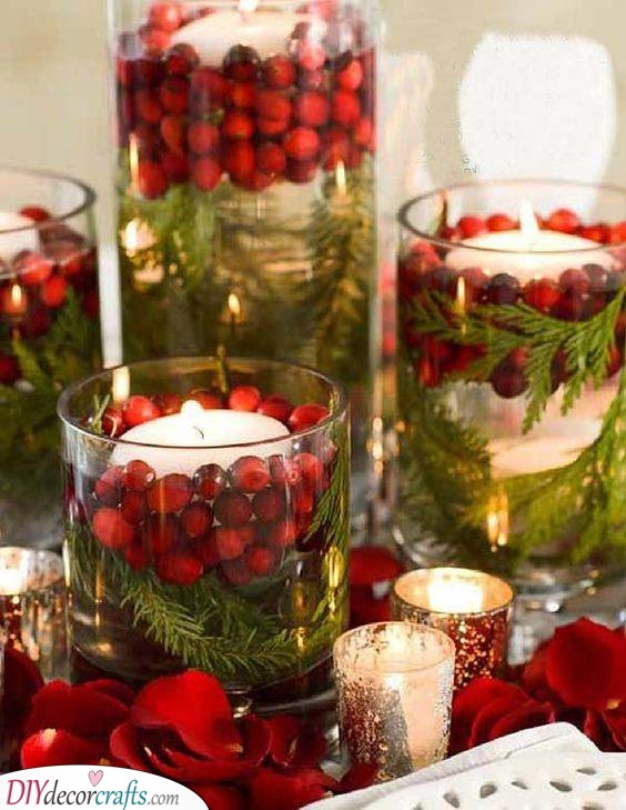 Recycle Some Jars - Floating Candles and Cranberries