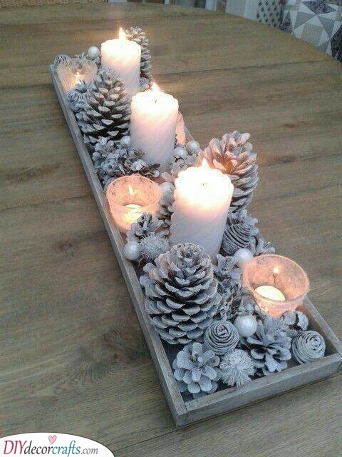 Wintery Goodness - Homemade Christmas Table Decorations