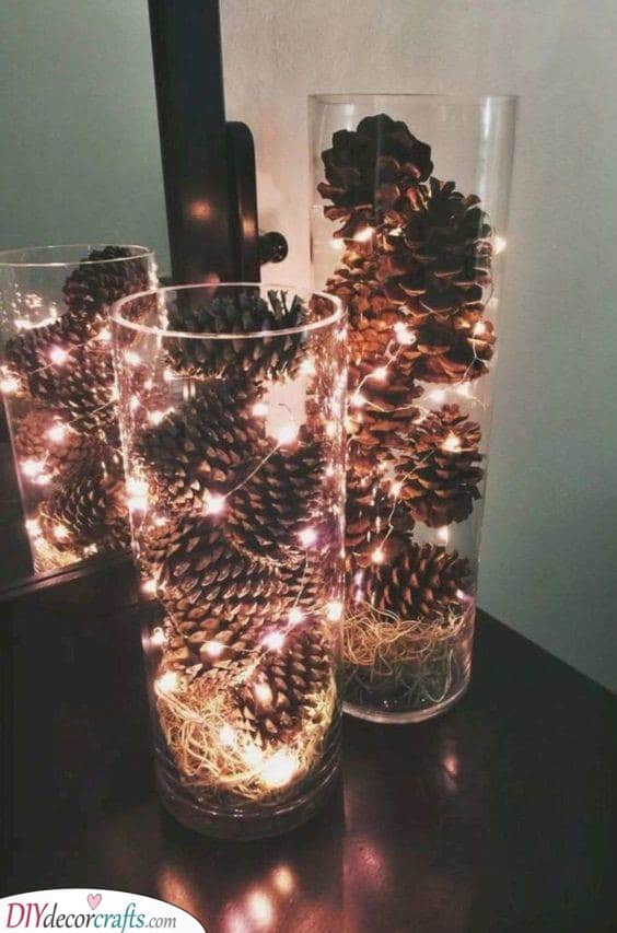 Jars Filled With Pinecones - Christmas Table Decoration Ideas