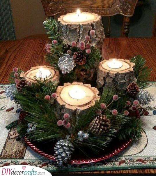 Small Tree Stumps - Creative Candle Holders