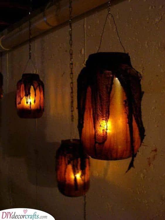 Hanging Lanterns - Creative Mason Jar Ideas