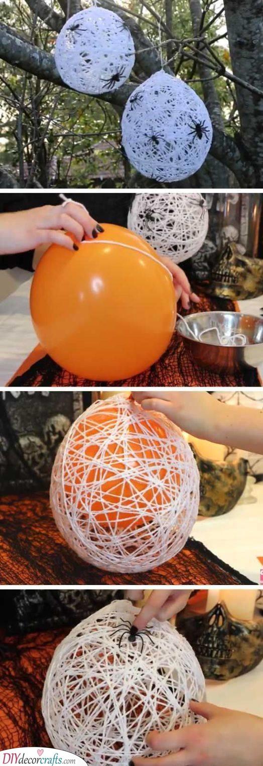 Spiders on Cobwebs - Cheap Halloween Decoration Ideas