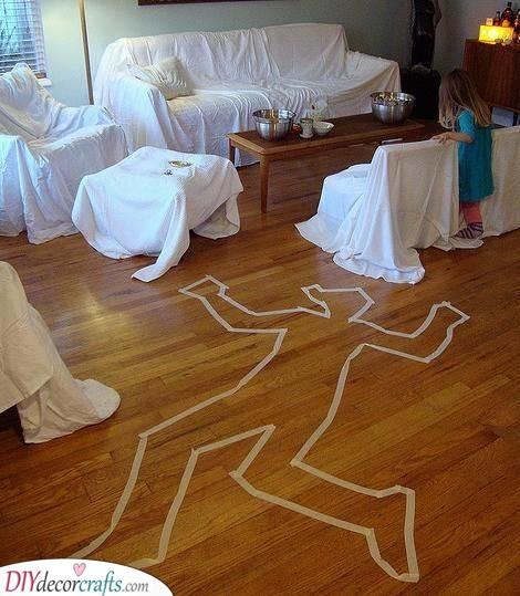 A Crime Scene - Cheap Halloween Decoration Ideas