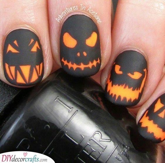 Spooky Pumpkin Heads - Fun Halloween Nail Ideas