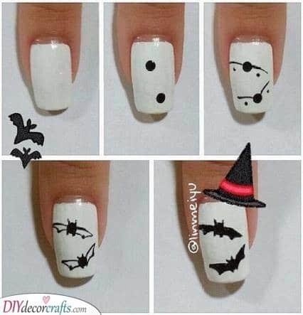 Cute Little Bats - Halloween Nail Ideas