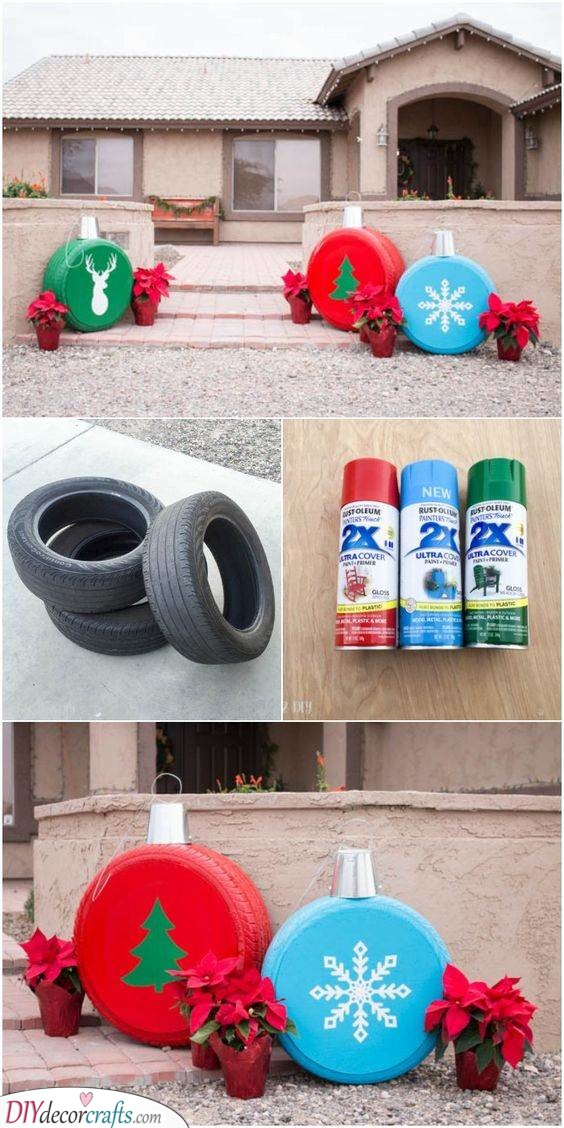 Tires as Ornaments - Amazing Outdoor Christmas Decorations
