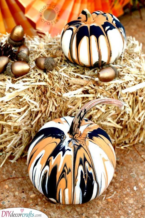 Drip Painting - Creative Pumpkin Decorating Ideas