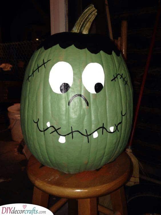 Frankenstein's Monster - Creative Pumpkin Decorating Ideas