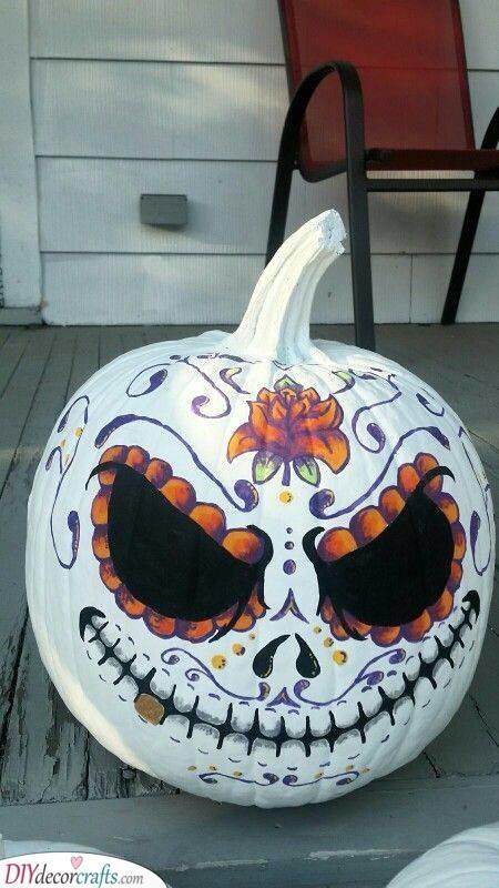 Intricate Sugar Skulls - Pumpkin Painting Ideas