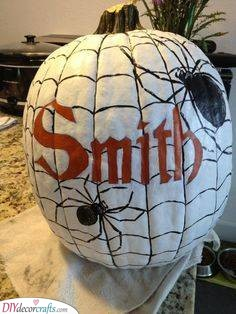 A Web of Spiders - Creative Pumpkin Decorating Ideas