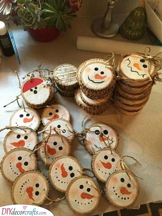Snowmen and Santa - DIY Christmas Ornaments