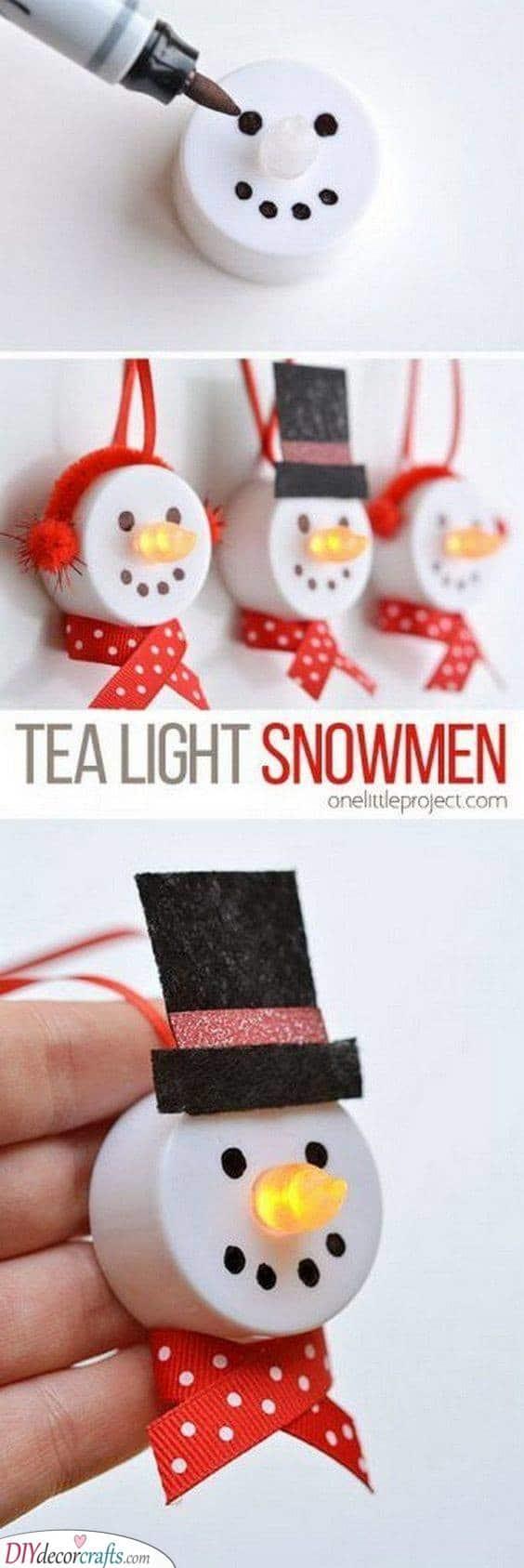 Tea Light Snowmen - Homemade Christmas Tree Decorations