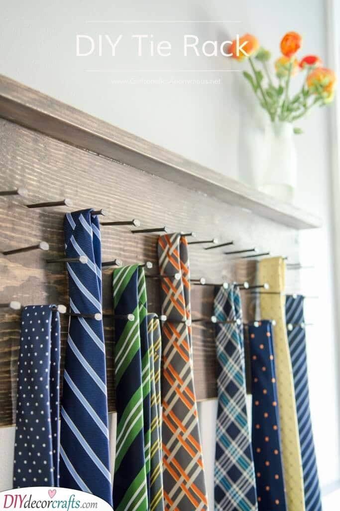 A Handmade Tie Rack - Great DIY Crafts