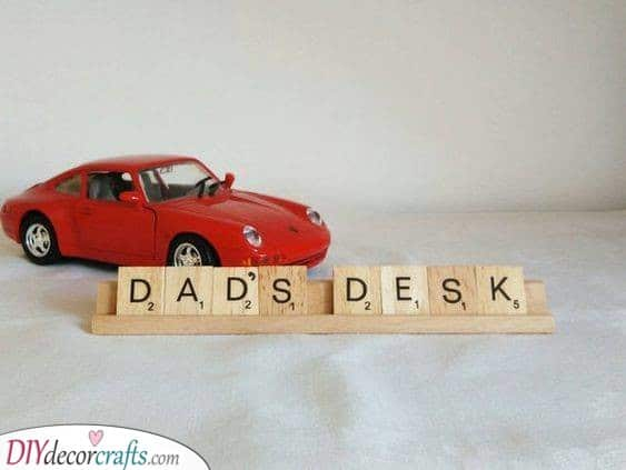 Dad's Desk - A Scrabble Sign