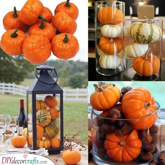 Pumpkins in Vases - Halloween Pumpkin Decorations