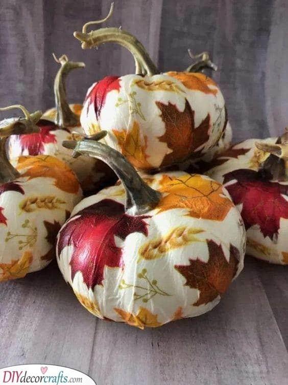 Leafy Pumpkins - Creative Pumpkin Decorating Ideas