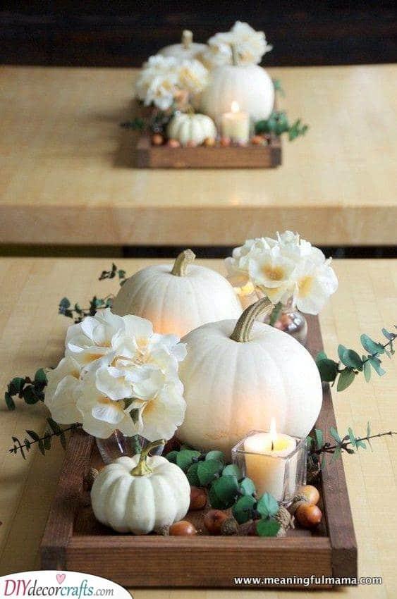 A Farmhouse Feel - White Pumpkins