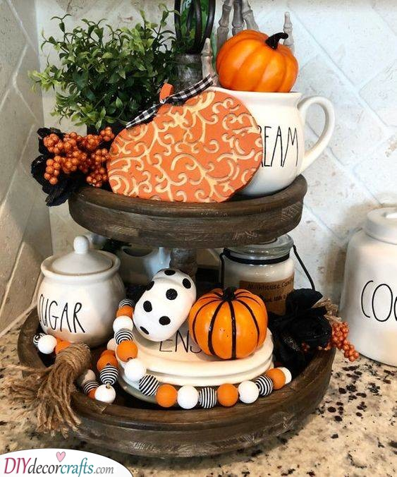 Two-Tiered Tray - Halloween Pumpkin Decorations