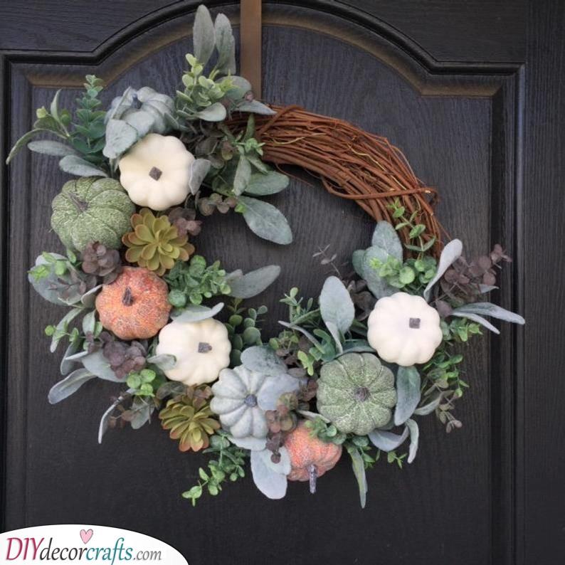 A Pumpkin Wreath - Front Door Decorations
