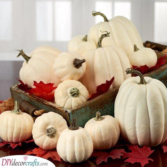 Filling Up a Wooden Crate - Halloween Pumpkin Decorations