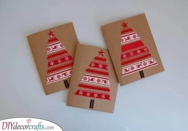 Red Christmas Trees – Handmade Christmas Cards