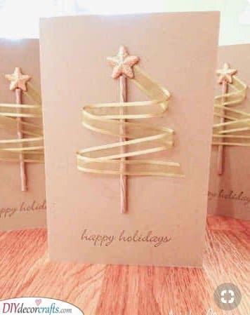 Ribbon Trees - Homemade Christmas Card Ideas