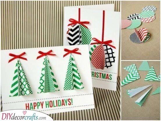 3D Trees – Handmade Christmas Card