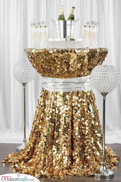 A Glittery Table - A Sequined Tablecloth