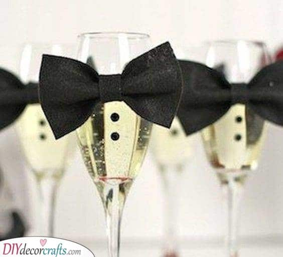 Bow Ties - On Champagne Glasses