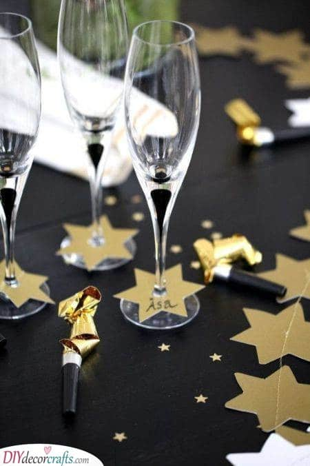 Name Tags - New Years Eve Party Decoration Ideas