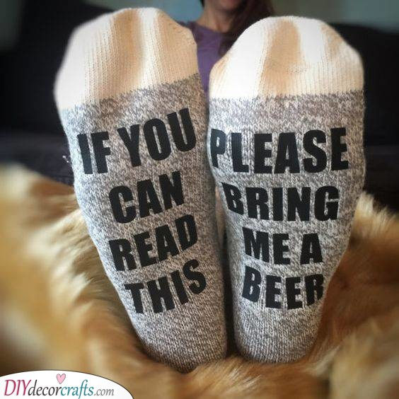 A Pair of Socks - With a Funny Message