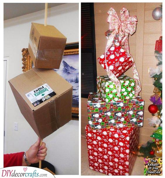 A Stack of Presents – DIY Christmas Party Decorations