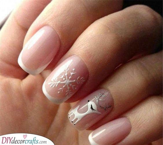 A Snowflake and Reindeer - Cute Winter Nails