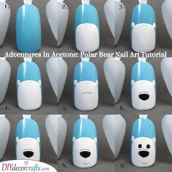 A Polar Bear - Winter Nail Designs