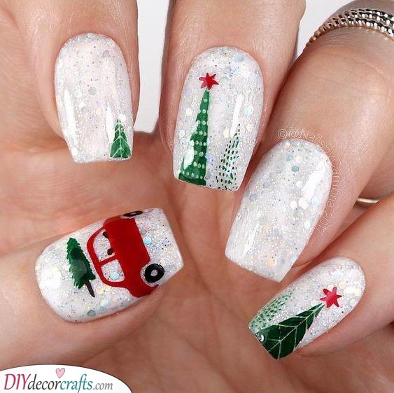 Taking Home the Christmas Tree - Cute Winter Nails
